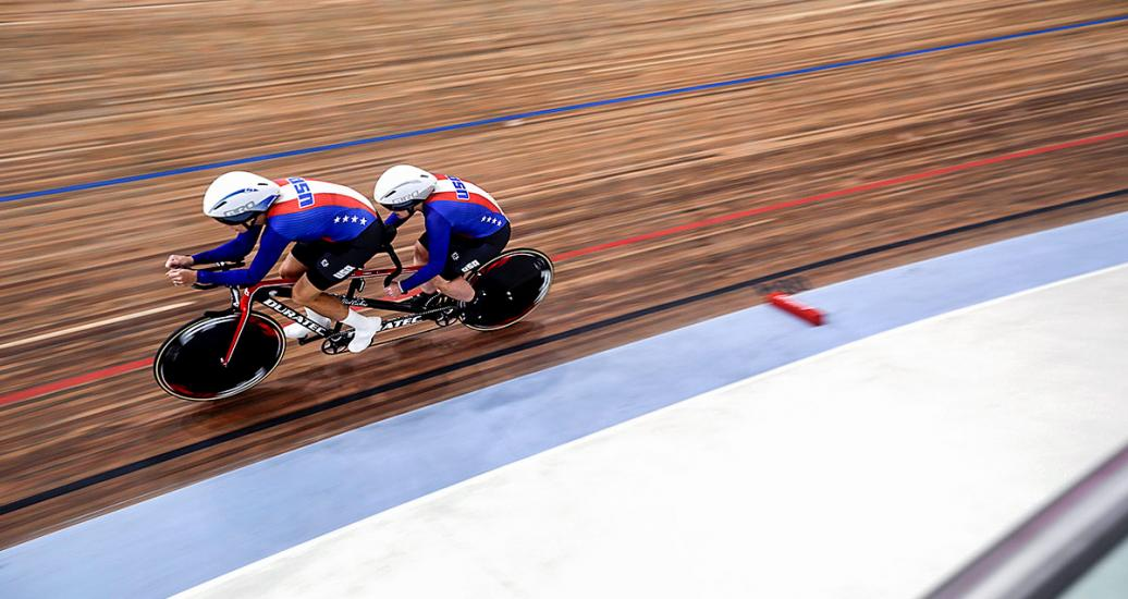 USA's Wendy Werthaiser and her pilot Jennifer Sharp at the Para cycling track competition at the National Sports Village – VIDENA, Lima 2019