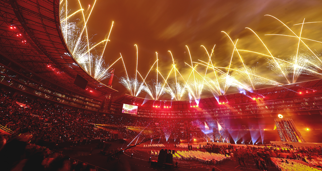 Fireworks light up the sky over the National Stadium at the Lima 2019 Parapan American Games Opening Ceremony.